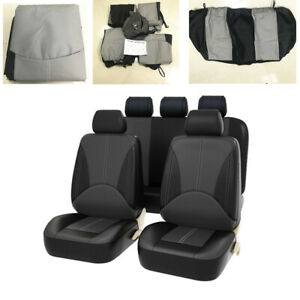 9Pcs Grey/Black Car Seat Covers Wear-Resistant Leather Fit for Most 5-Seat Cars
