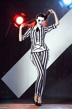Sexy Skull Skeleton Costume Adult Halloween Party Black&White Stripes Ghost Cosp