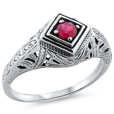 GENUINE  RUBY .925 SILVER ANTIQUE DECO STYLE FILIGREE RING SIZE 6.75,       #186