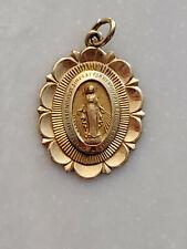 14 Karat gold Miraculous Mary Religious Vintage Pendant MPN R41320