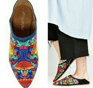 Jeffrey Campbell Denim Vijay Step Down Flats Embroidered Shoes Size 8.5 Leather