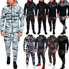 Men's Camo Hoodie Hooded Tracksuit Set Jogger Sports Coat Jacket Pants Trousers