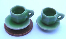 1:12 Scale 2 Green Ceramic Cups & Saucers Sets Tumdee Dolls House Type 1 G15