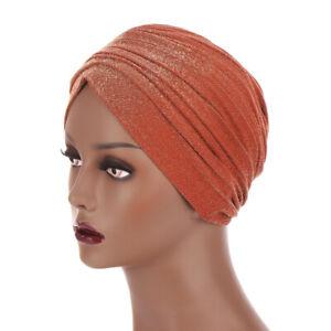 Women's Muslim Turban Hats Hair Loss Pleated Glitter Hijab Head Scarf Cap Cover