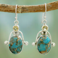Woman Silver plated Citrine Turquoise Gemstone Dangle Hooks Earrings Jewelry