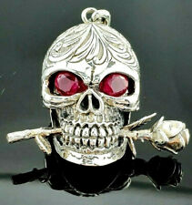 Gothic Silver 925 Oxidised Skull & Rose Head With Red Ruby Eyes Cross Pendant.