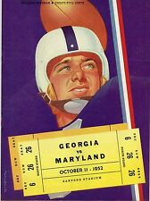 1952 GEORGIA BULLDOGS vs MARYLAND TERRAPINS NCAA Football Progam COVER ART ONLY