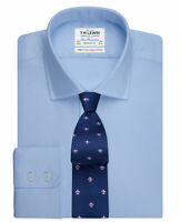 T.M.Lewin Mens Blue Twill Regular Fit Button Cuff Shirt