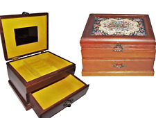 Antique Victorian Swiss Wood Wooden Music Jewelry Box