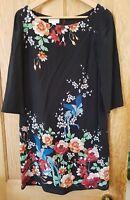 Monsoon Silk Black And Flower Print Dress 3/4 Sleeves Size 10