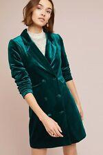 Anthropologie YUMI KIM Green Velvet Blazer Dress Size Small