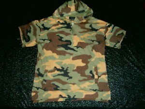 PACSUN QUALITY CAMO Camouflage SHORT Sleeve Hoodie MENS Size L HOODY