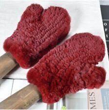 Real Maroon Rex Rabbit Fur Winter Warm Gloves Mittens