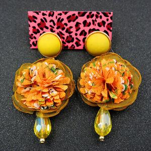 Betsey Johnson Fashion Jewelry Beauty Yellow Flower Dangle Earrings