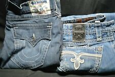 Lot Of 2 Mens Designer Jeans, Rock Revival + True Religion