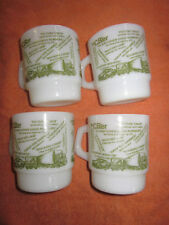 Anchor Hocking Fire King CB Radio Jargon Slang Talk Milk Glass  Mugs set of 4