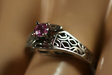 DESIGNER STULLER 14K SOLID WHITE GOLD PINK SAPPHIRE ART DECO FILIGREE RING 14KT