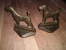 Antique 1929 Pal Art Deco Fox Airedale Terrier Statue Dog House Home Bookends