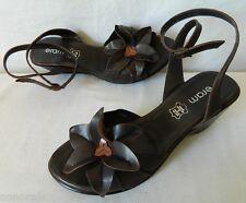 Chaussures sandales compensées nus-pieds lanières CUIR marron fleurs TBE 37 ERAM