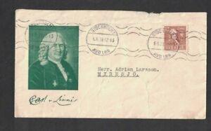 Sweden - 6th June 1939 Stockholm 1 Cancel - Carl von Linne Cover