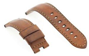 Genuine Officine Panerai 24mm Lug Brown Calf Leather Deployment Watch Strap