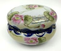 Vintage Floral Trinket Box Round Made in Japan Vanity Hand Painted Dish Cobalt