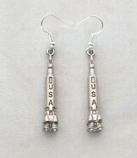 English Pewter, Gift Boxed, Handmade (wa) Pair of Space Rocket Earringsin Fine