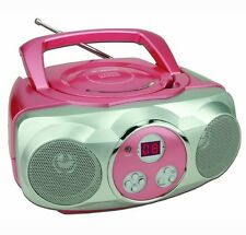 Sylvania Portable AM/FM CD Boombox with AUX Line-in, Pink