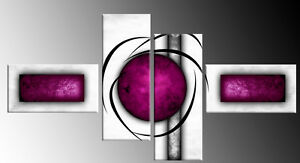 """PLUM PURPLE WHITE ABSTRACT CANVAS WALL ART PICTURES SPLIT MULTI 4 PANEL 57"""""""