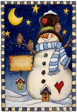 Country Christmas Snowman Starry Night Primitive Quilting Fabric Block 5x7