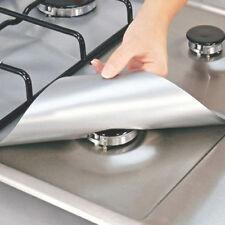 4PCS Reusable Silver Gas Range Protector Gas Hob Liner Stove Pad for Kitchen