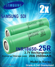 2x Samsung INR 18650 25R M 2500mAh 20A Rechargeable Lithium Li-Ion Battery