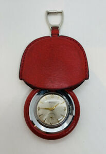 Gucci Italy Vintage Red Leather Manual Wind Purse Keychain Watch