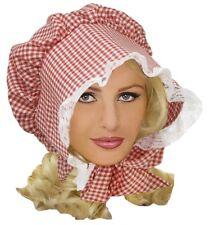 Pilgrim Checkered Prairie Hat Bonnet Costume Accessory Women Red White Gingham