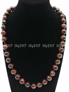 Long 22 inches Natural 14mm Red Tiger's Eye Gemstone Round Beads Necklace AAA