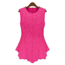 Ladies Hollow-Out Lacy Printed Sleeveless Flared Peplum Crochet Top Vest blouse