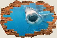 3D Hole in Wall Shark Attack View Wall Sticker Film Mural Art Decal Wallpaper 51