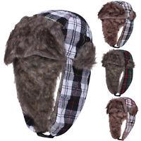 Unisex Mens Hat Winter Warm Fur Lined Lumberjack Ladies Trapper Cap Hats New