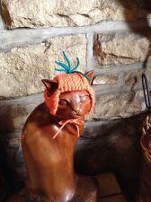 HAND Knitted Carrot Top Hat per il tuo gatto/cane piccolo, nuova