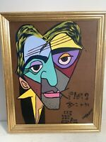 Outsider Folk Art Portrait Cubist Modern Signed JW Brown JIM BROWN 2004 16x13""