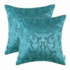 "2Pcs CaliTime Floral Teal Jacquard Reversible Pillows Covers Home Decor 20""X20"""