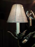 NEW CZECH Art Glass BEADED Crystal LAMP SHADE CLEAR Color Candelaba bulb Clip-on