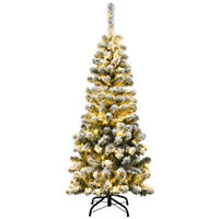 4.5Ft Pre-lit Snow Flocked Artificial Pencil Christmas Pine Tree w/150 LED Light