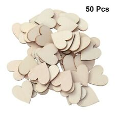 50pcs Hearts Shape Wood Pieces Wooden Craft Log Discs Slices Wedding Party Decor