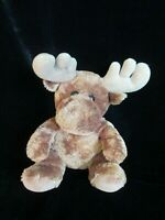 Aurora Moose Sitting Brown Plush Antlers Soft Cute Stuffed Animal Toy Doll 12""