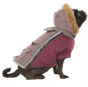 Top Paw Light Up Hooded Winter Dog Coat Olive/Maroon XS-L Waterproof LED Reflect