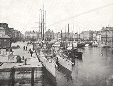 SEINE- MARITIME. Le Havre. Bassin du Commerce 1900 old antique print picture