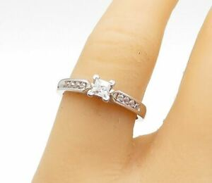 925 Sterling Silver - Cubic Zirconia Solitaire With Accents Ring Sz 7 - R15147