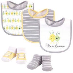Hudson Baby Cotton Bib and Sock Set, Main Squeeze, One Size