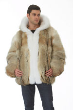 Men's Hooded Coyote Fur Jacket Coat Parka - White Fox Trim